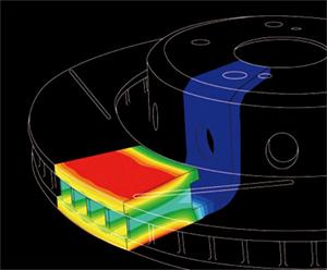 Распределение температуры в тормозном диске